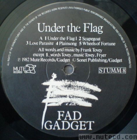 Fad Gadget Under The Flag Bajo La Bandera