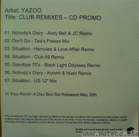 Yazoo Discography - Nobody's diary (2008 mixes) - rare and